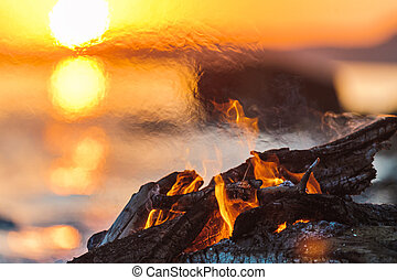 Campfire on the beach
