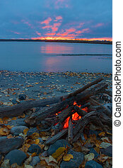 Campfire on the shore of Talkeetna river