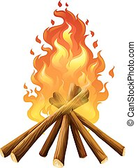 Campfire on white background