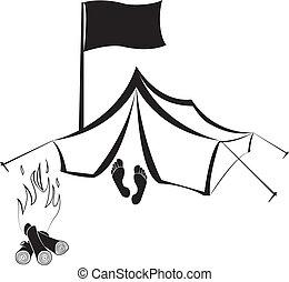 campfire, sitio, acampar tienda