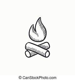 Campfire sketch icon.