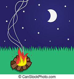 Small campfire scene with moon and stars