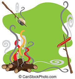 Campfire treats - Roasting marshmallows and hotdogs over a...