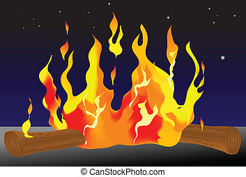 Campfire - Vector illustration of a campfire. Logs can be...