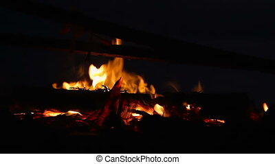 Campfire with burning log wood and twigs at night