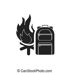 campfire with camping icon
