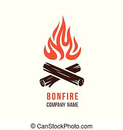 Campfire with firewood - Vector illustration of campfire ...