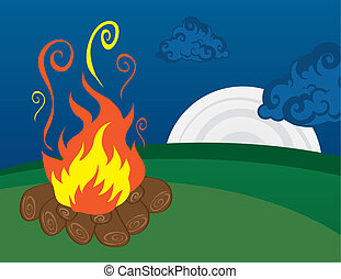 Campfire with Moon - Campfire scene with moon in the...