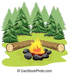 Campfire with stones and wooden logs in forest clearing -...