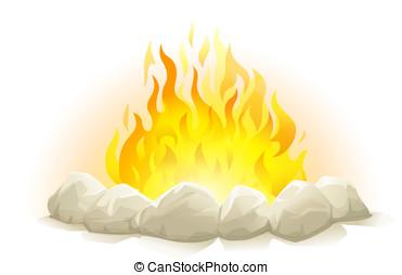 Campfire with stones, eps10 illustration make transparent...