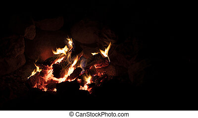 Campfire with text space