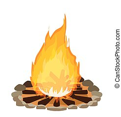 campfire wooden trunk flame vector ilustration