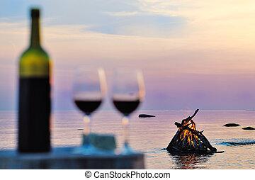 campfire, y, gafas vino
