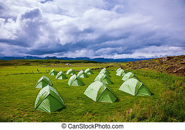 Green tent on a grassy lawn
