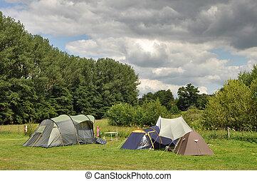Campground - Dark Clouds above a Campsite in the Belgian ...