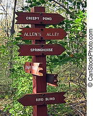 Brown Wooden Guidepost in a Park Pointing in Many Directions