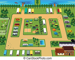 Campground map - A vector illustration of campground map...