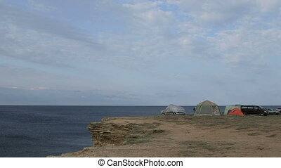 Campground on cliff by the sea