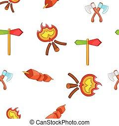 Campground pattern, cartoon style