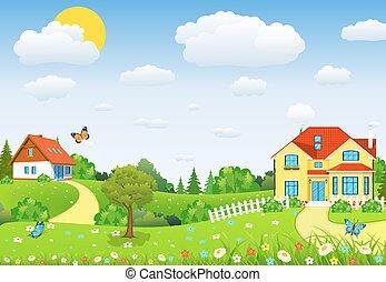 campi, colline, paesaggio, rurale