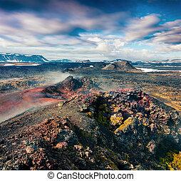 campi, di, steamy, acque, in, il, krafla, volcano.
