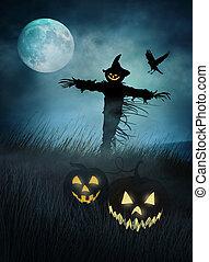 campi, erba,  silhouette, spaventapasseri, notte