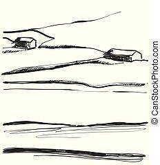 campi, illustrazione, mano, vettore, disegnato, paesaggio