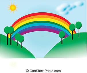 campi, paesaggio, arcobaleno