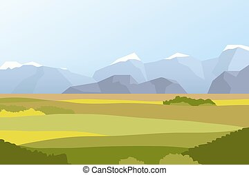 campi, paesaggio, montagne