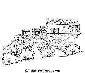 campi, paesaggio, villages.