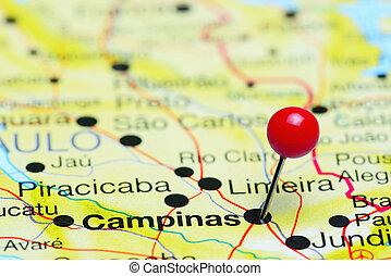Campinas pinned on a map of Brazil - Photo of pinned...