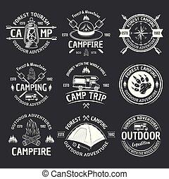 camping, årgång, mörk, symboler, vektor, vit