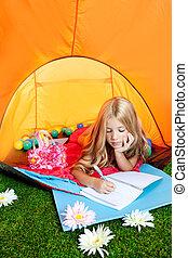 camping, écriture, cahier, girl, fleurs, enfants, tente