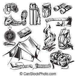 camping, éléments, ensemble