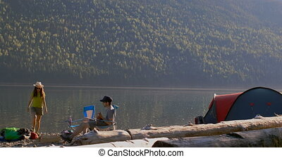 camping, 4k, rive, couple