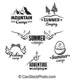 camping, abzeichen, satz