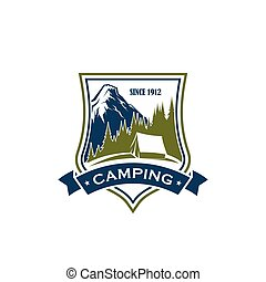 Camping activity vector sign