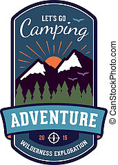 Camping adventure badge emblem - Camping wilderness ...