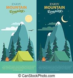 Camping Adventure, bonfire fire and tent, vector