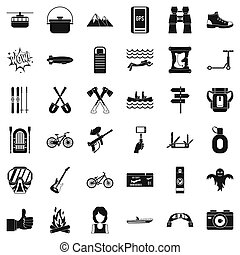 Camping adventure icons set, simple style