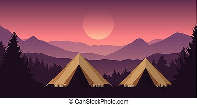 camping adventure in the wilderness two tents in the forest with mountain landscape