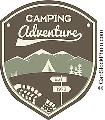 Camping adventure label. Mountain winter camp badge. Outdoor explorer logo design. Travel monochrome and hipster color insignia. Snowboard icon symbol. Wilderness emblem and stamp. Vector patch