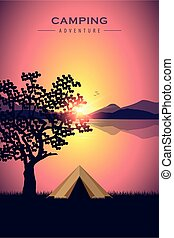camping adventure tent by the lake with purple mountain landscape