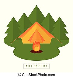 camping adventure tent in the forest with campfire
