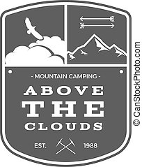 Camping Adventures Label. Vintage Mountain winter or summer camp explorer badge. Outdoors logo design. Travel monochrome, hipster insignia. Campsite icon symbol, patch, emblem and stamp. Vector