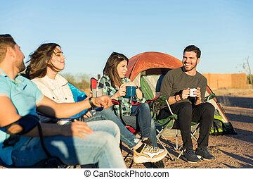 camping, amis, délassant