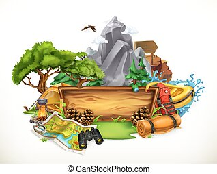 Camping and adventure, 3d vector illustration