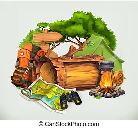 Camping and adventure time vector illustration