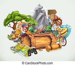 Camping and adventure, vector illustration
