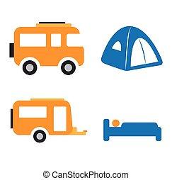 Camping and Caravan Icon Set